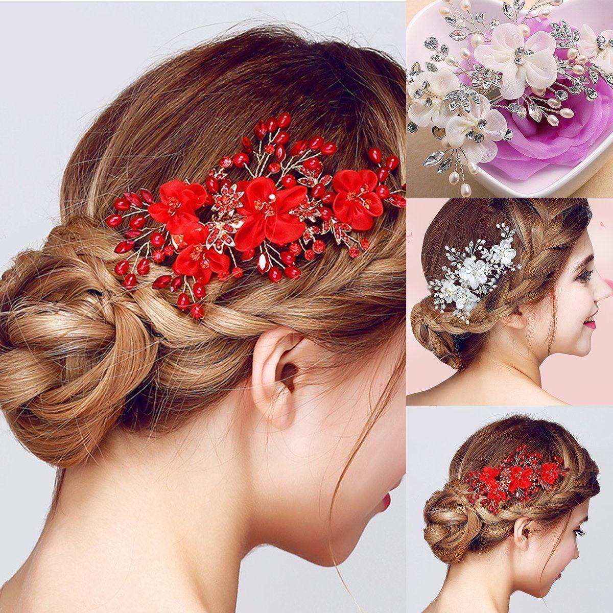 fashion bridal wedding flower pearl headband hairpin hair