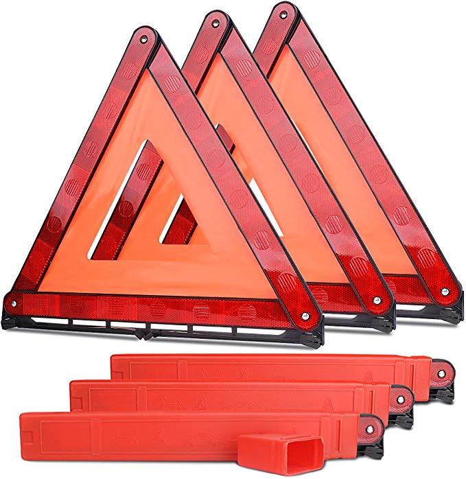 Amazon Com Lenmumu Safety Triangle Kit Road Emergency Warning Reflector Roadside Reflective Early Warning Sign Foldable Car Emergency Kit Reflectors Kit Cars
