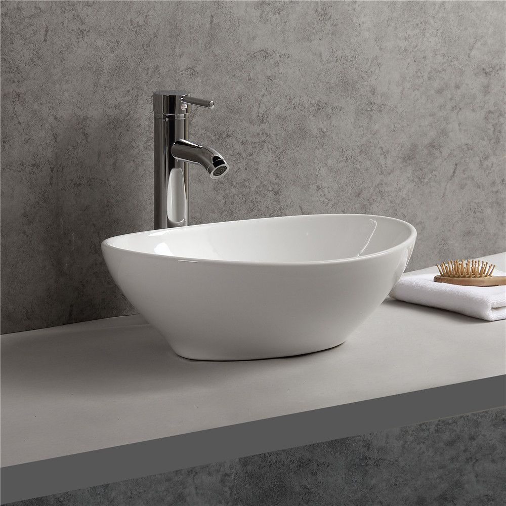 Gimify Stylish Vessel Sink Oval Ceramic Hand Wash Basin Countertop Mounted Made In China Elegant Shape And Smooth Surface Dre Sink Countertops Vessel Sink