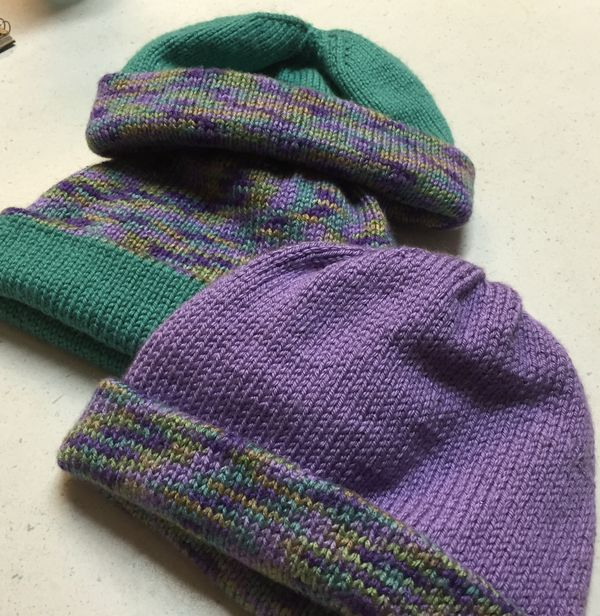88e17455e44 Simply knitted reversible double warm hat! Will be knit in school colors.