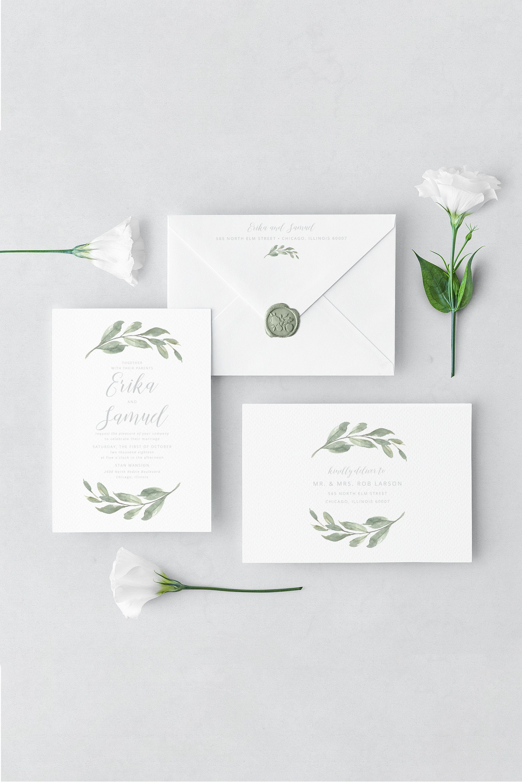 Greenery Envelope Address Template, Printable Address