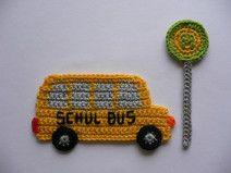 Schulbus (ohne Haltest.-Schild) - Häkelapplikation