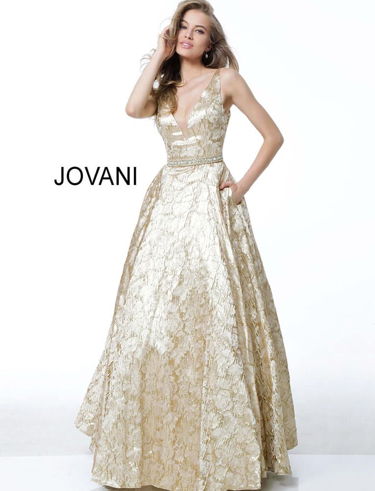 c5b30b908435 This Jovani 58653 gold formal dress features an A-line silhouette in floral  brocade, detailed with a deep V-neckline, low V-back and crystal-studded  belt.