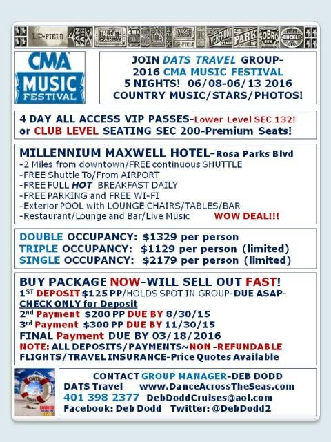 Cma Country Music Festival 2016 4 Day All Access Pass 5 Nights