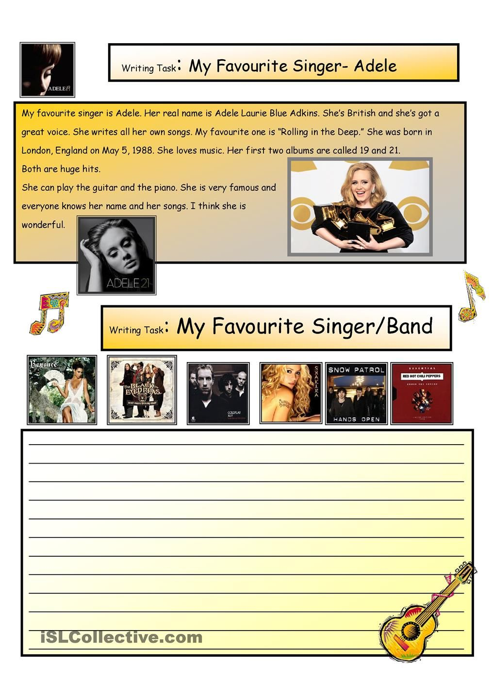 Creative Writing My Favorite Singer 8 A1 Level Creative Writing Singer Writing [ 1440 x 1018 Pixel ]