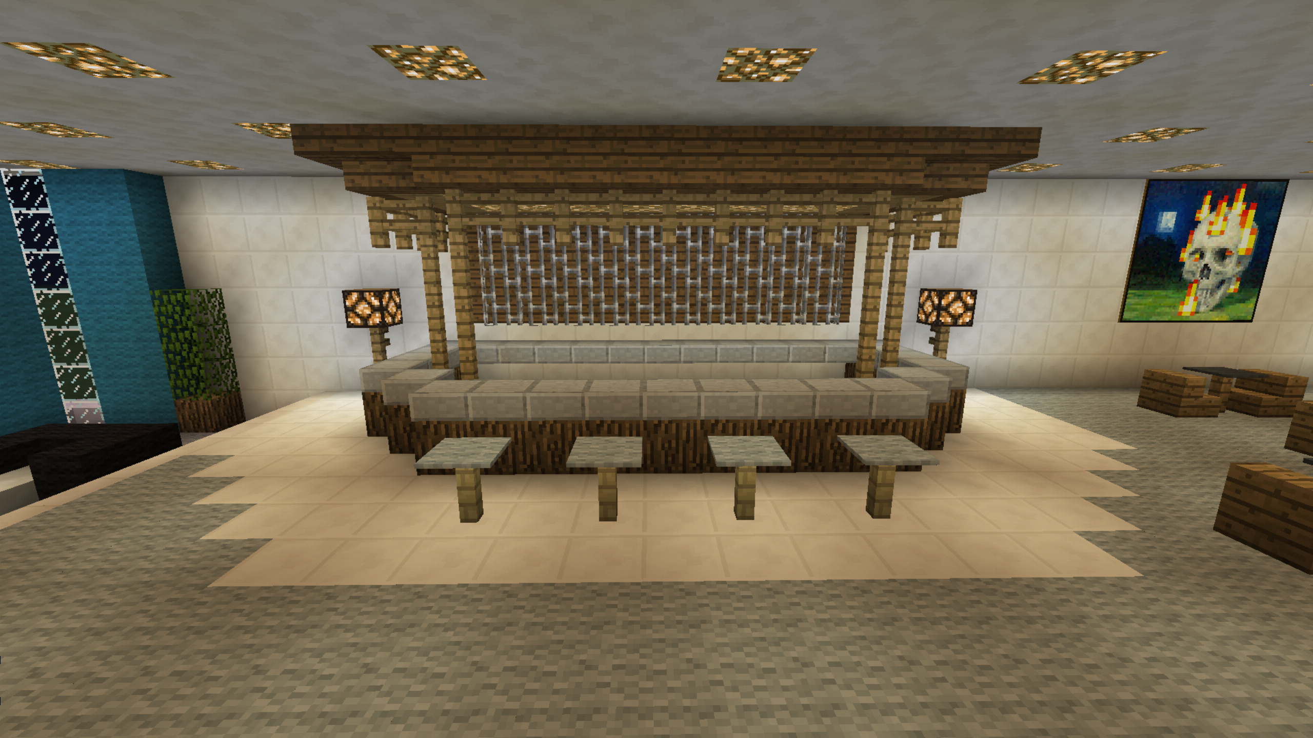 Minecraft tiki bar pub minecraft creations pinterest for Minecraft lounge ideas