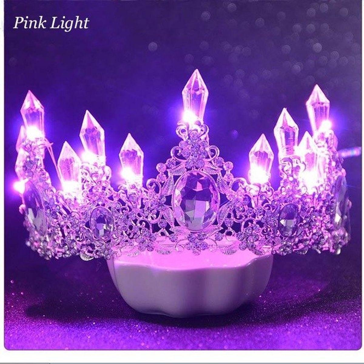 led light crowns shining crystal rhinestone tiaras bride