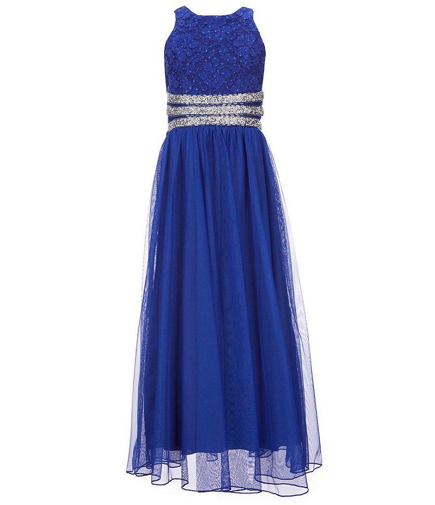 Xtraordinary big girls glitterlace beaded maxi dress formal