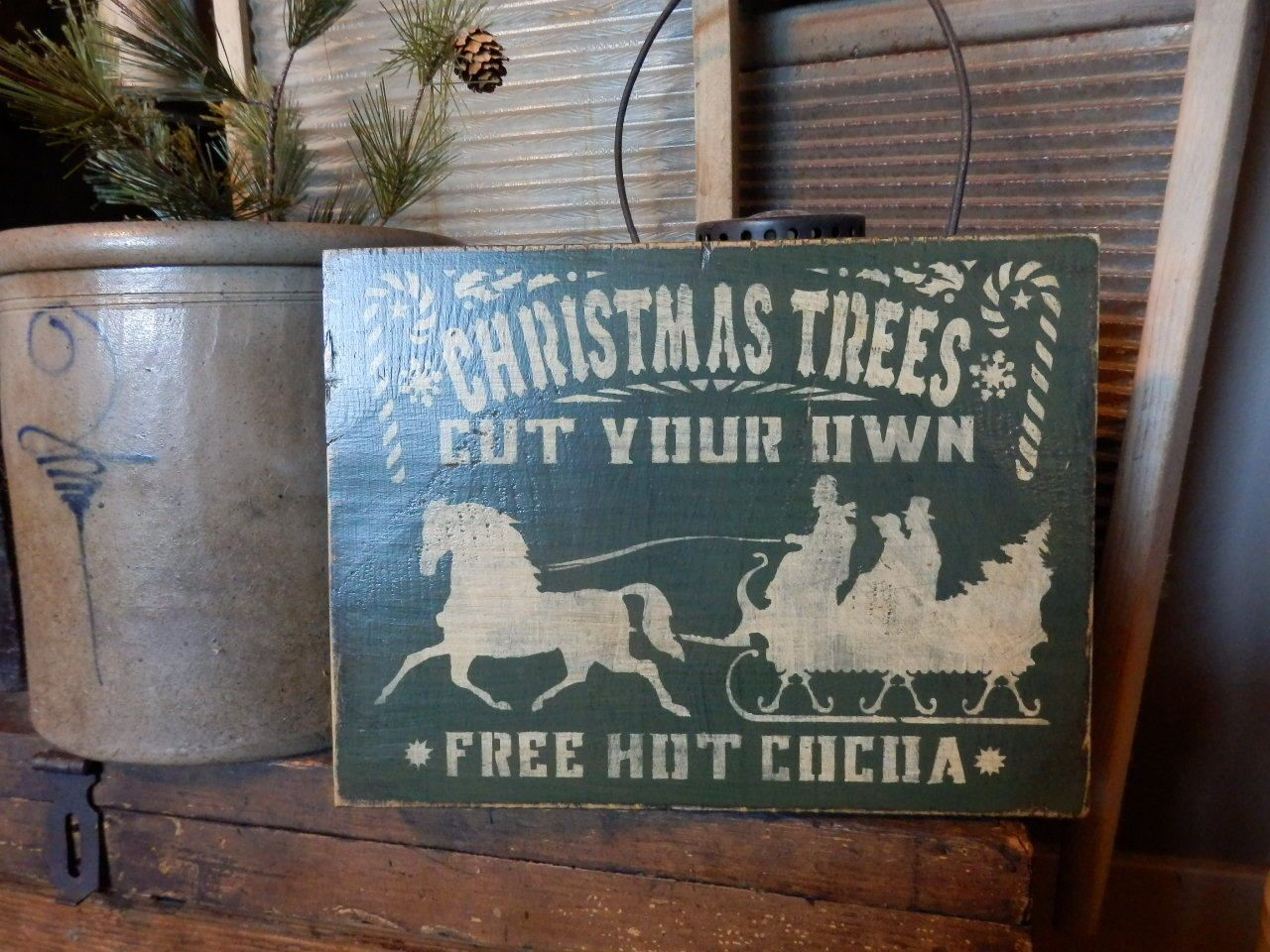 Primitive Cut Your Own Christmas Trees Seasonal Handpainted Sign WOW   eBay