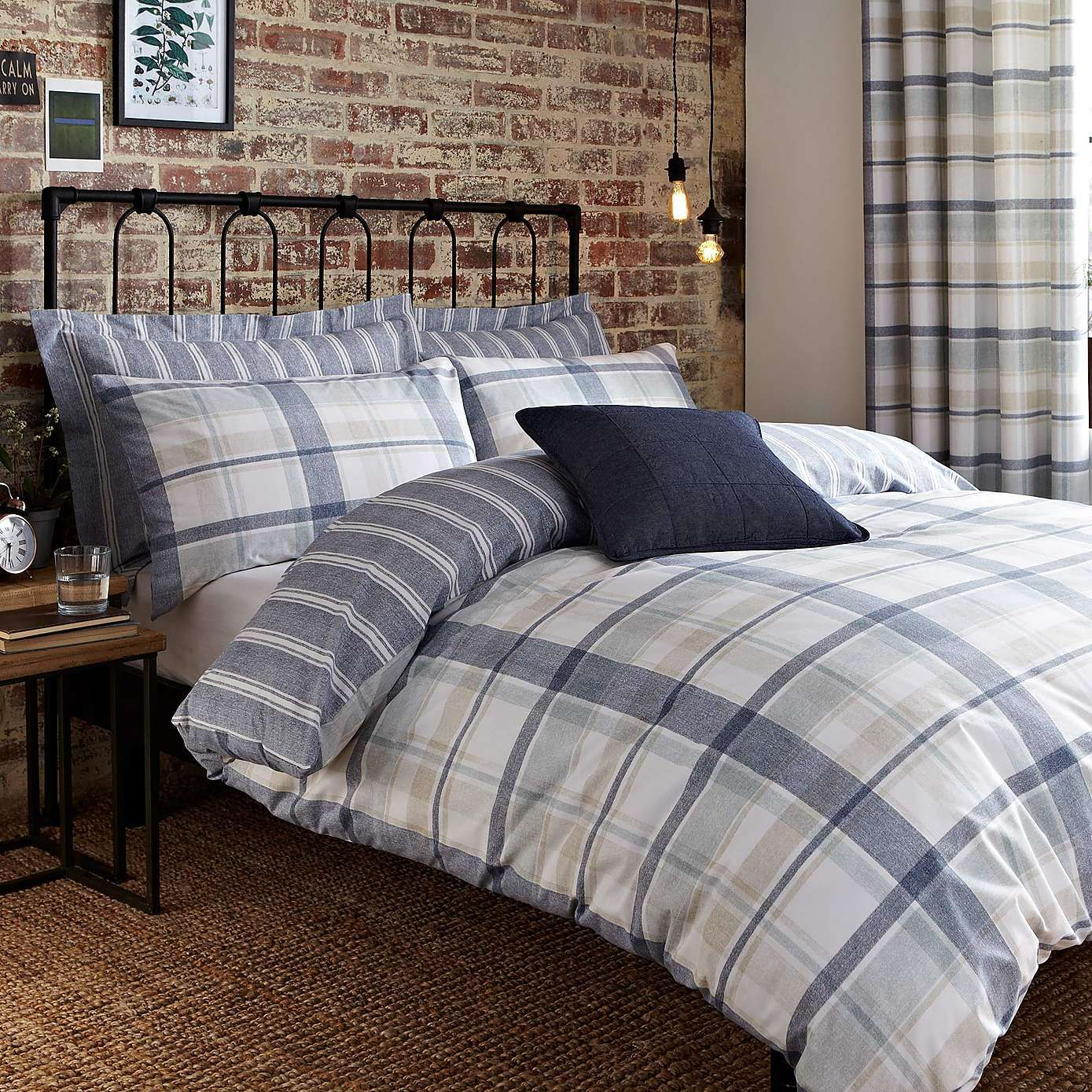 Harrison Blue Duvet Cover and Pillowcase Set Dunelm