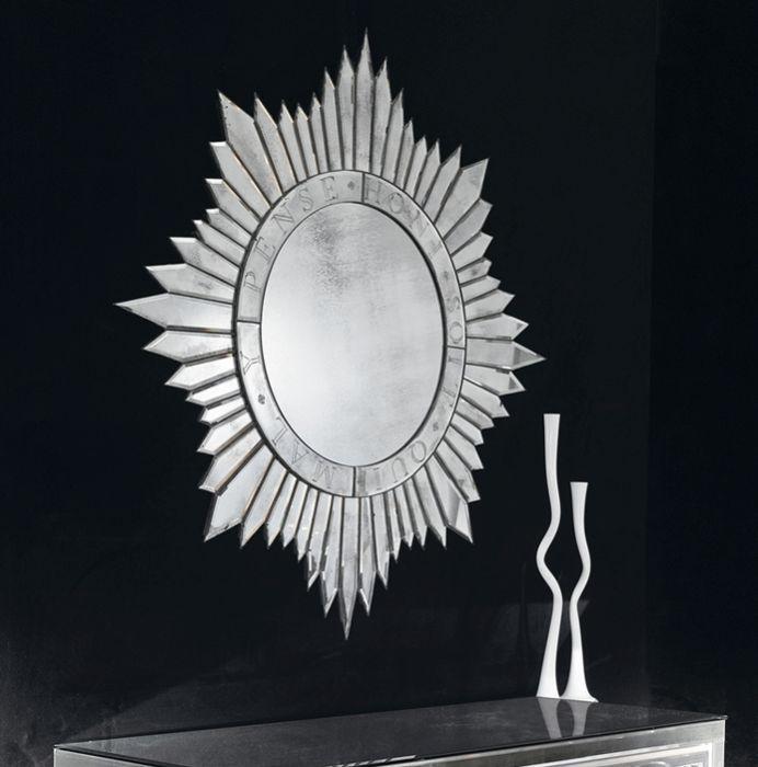Large Silver Sunburst Mirror, Venetian Large Round Silver Wall Mirror