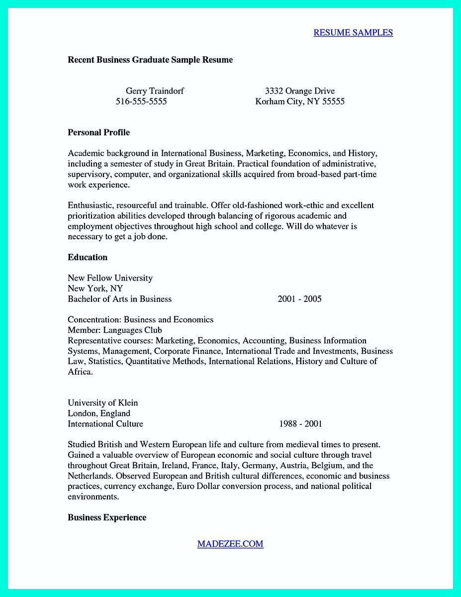 Cool Cool Sample Of College Graduate Resume With No Experience