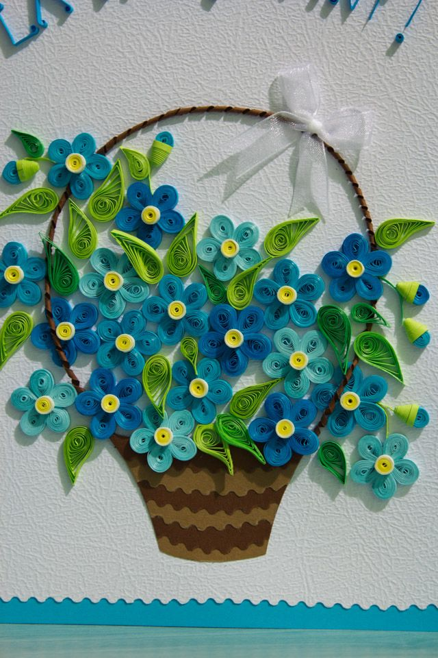 How To Make A Quilling Flower Basket : Quilled flower basket paper trail