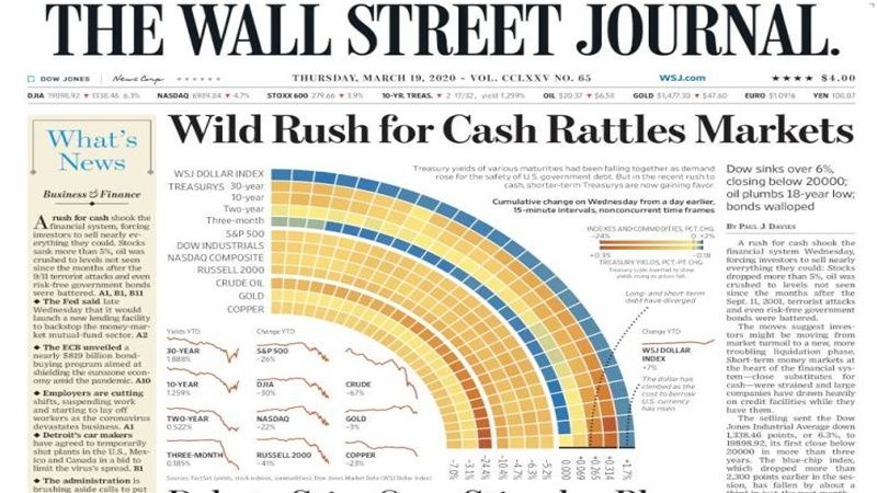 World Newspapers Wild Rush For Cash Rattles Markets In 2020 Newspapers Wall Street Journal Marketing
