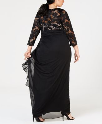 05bba4facc6 Betsy   Adam Plus-Size Ruched Lace-Contrast Gown - Black 16W ...