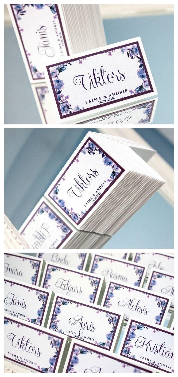 Hochzeitskarten 10x Tischkarten Hochzeit Platzkarten Lila Blumen