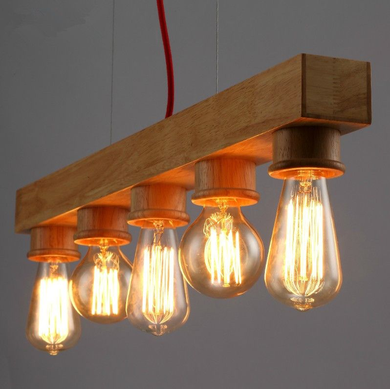 5 Heads Wooden Pendant Light Edison Bulb Lamp Nordic Country Bar Lighting Fixture Family Bar Light Fixtures Wooden Pendant Lighting Wood Pendant Light Fixture