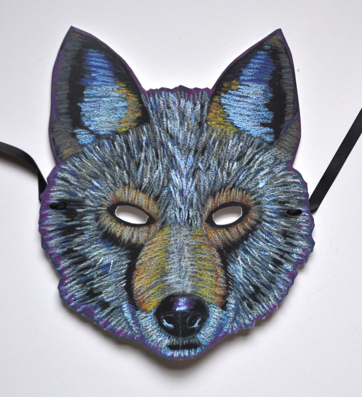 Thee testa di lupo maschera per Halloween e costume cosplay party gray wolf