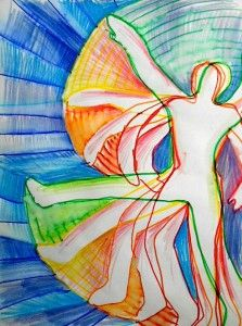 Manikin and lines of motion with color theory