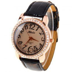 Blida Quartz Watch with 12 Arabic Numbers Indicate Leather Watch Band for Women - Black