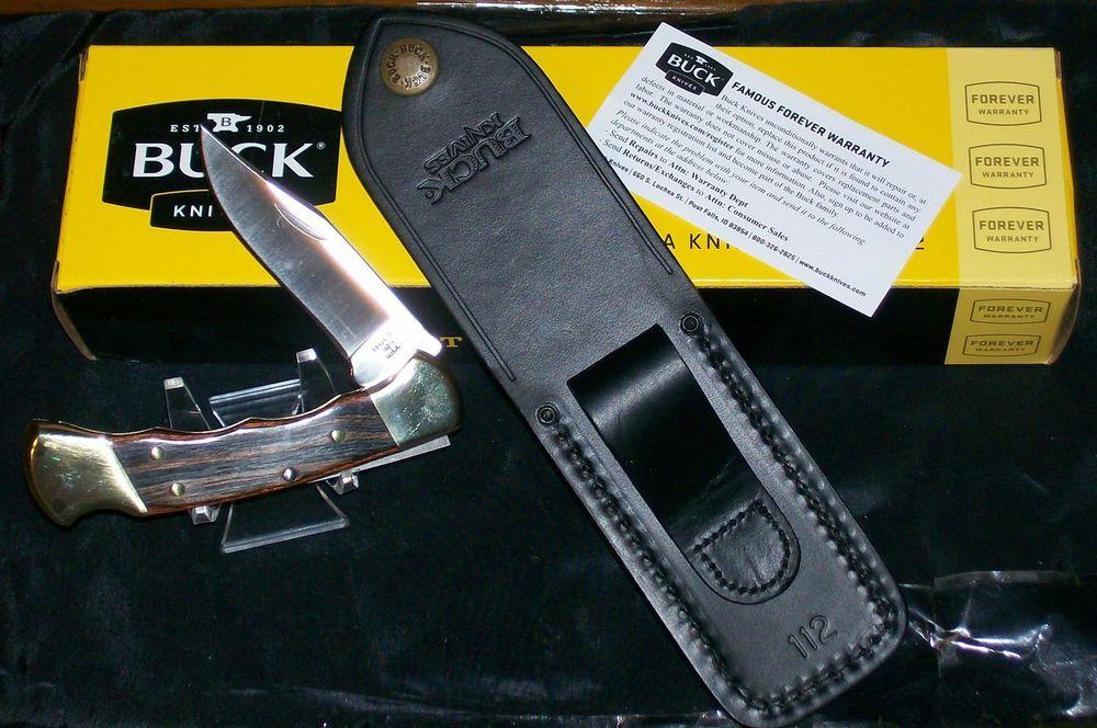 Buck 112 Lockback Knife Ranger Finger Grooved W/Sheath