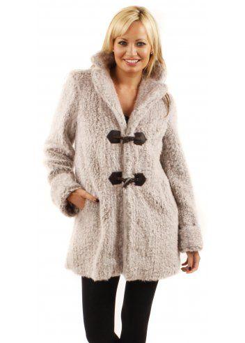 Urbancode Faux Fur Mist Grey Duffle Coat | Designer Faux Fur ...