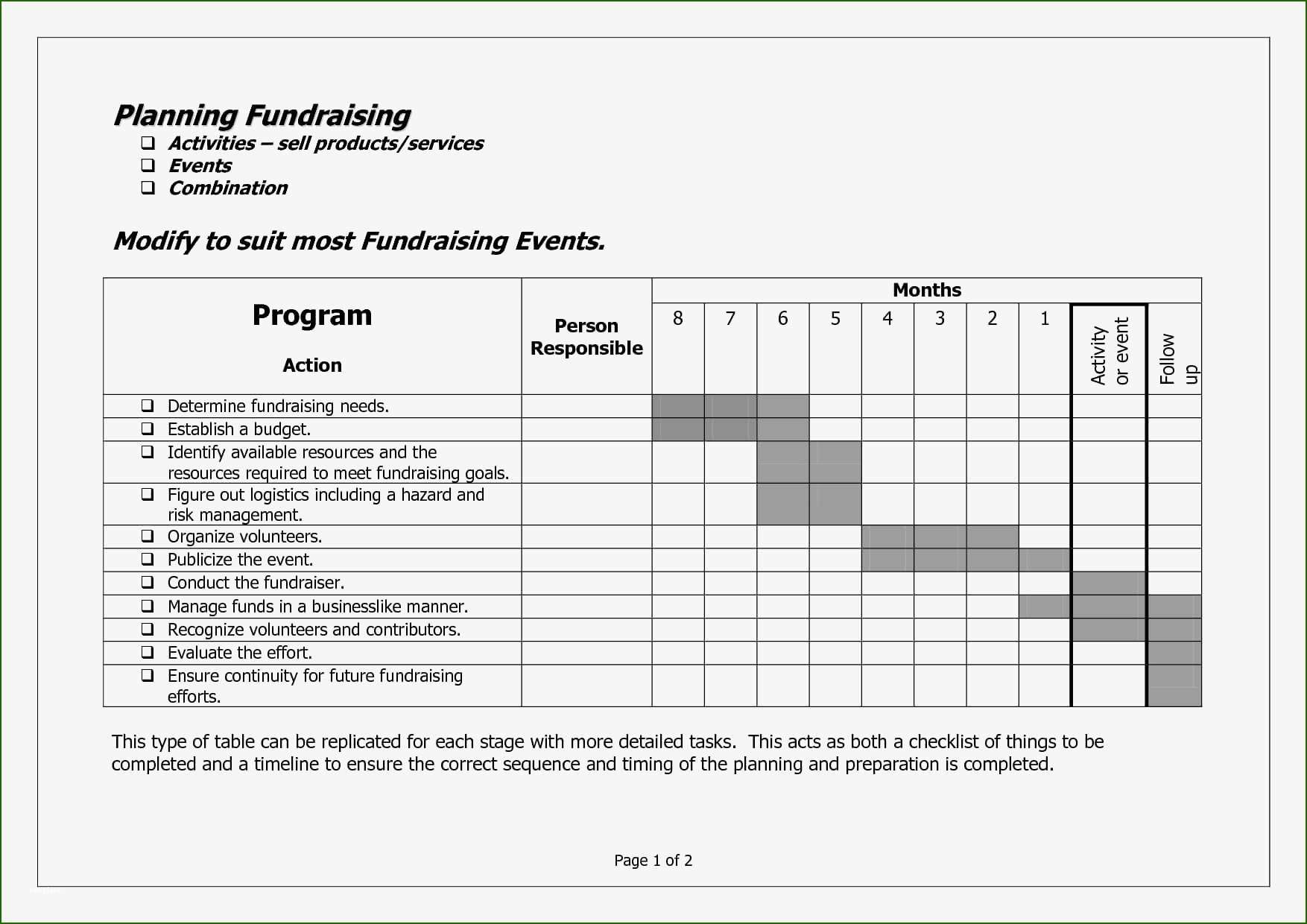 12 Outstanding Fundraising event Planning Template in 2020