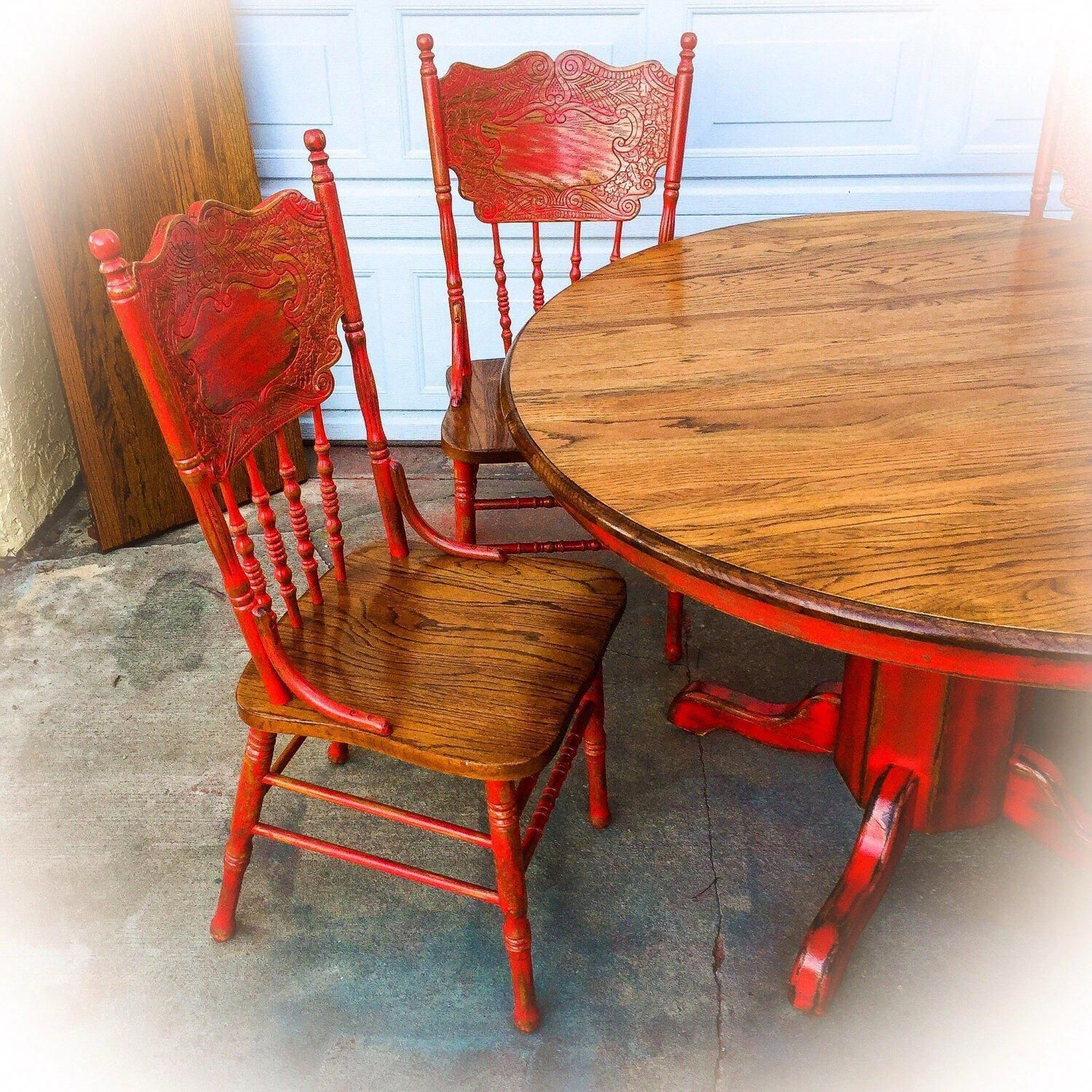 Red Country Kitchen Table Oak Table And Chair Set Large