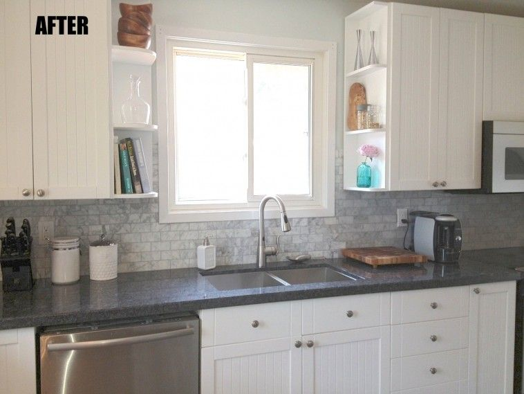 Dark Grey Granite Countertop Connected By Grey Tile Backsplash And