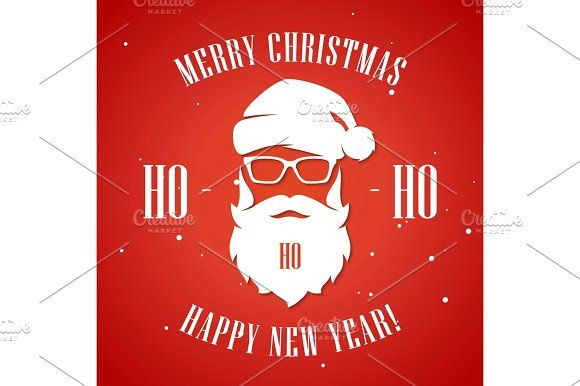 merry christmas and happy new year greeting card with hipster st by rikkyal on creativemarket