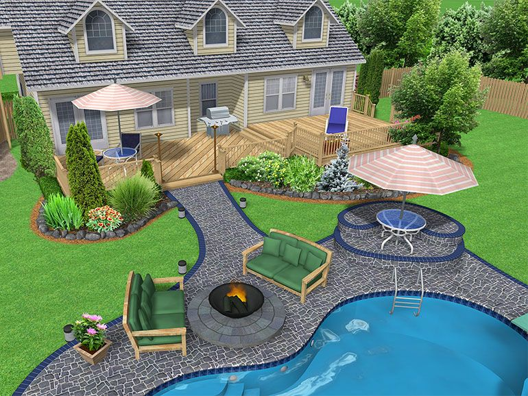 images of garden landscaping with l shaped pools | Landscaping Pools ...
