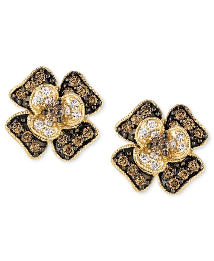 Le Vian White And Chocolate Diamond Flower Stud Earrings 1 2 Ct T W