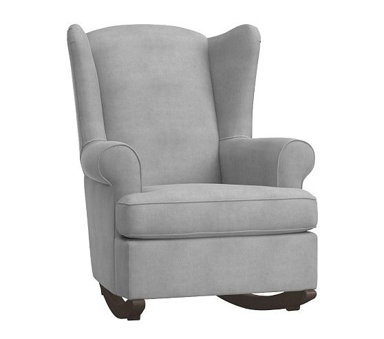 Wingback Rocker Espressosolidvelvetsilver Gray Most