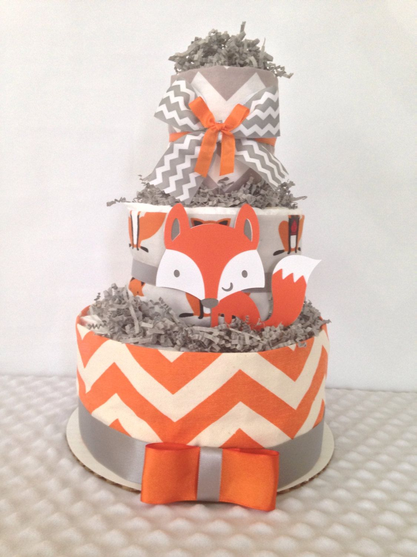 Designer Fox Diaper Cake 3 Tier Baby Shower Centerpiece