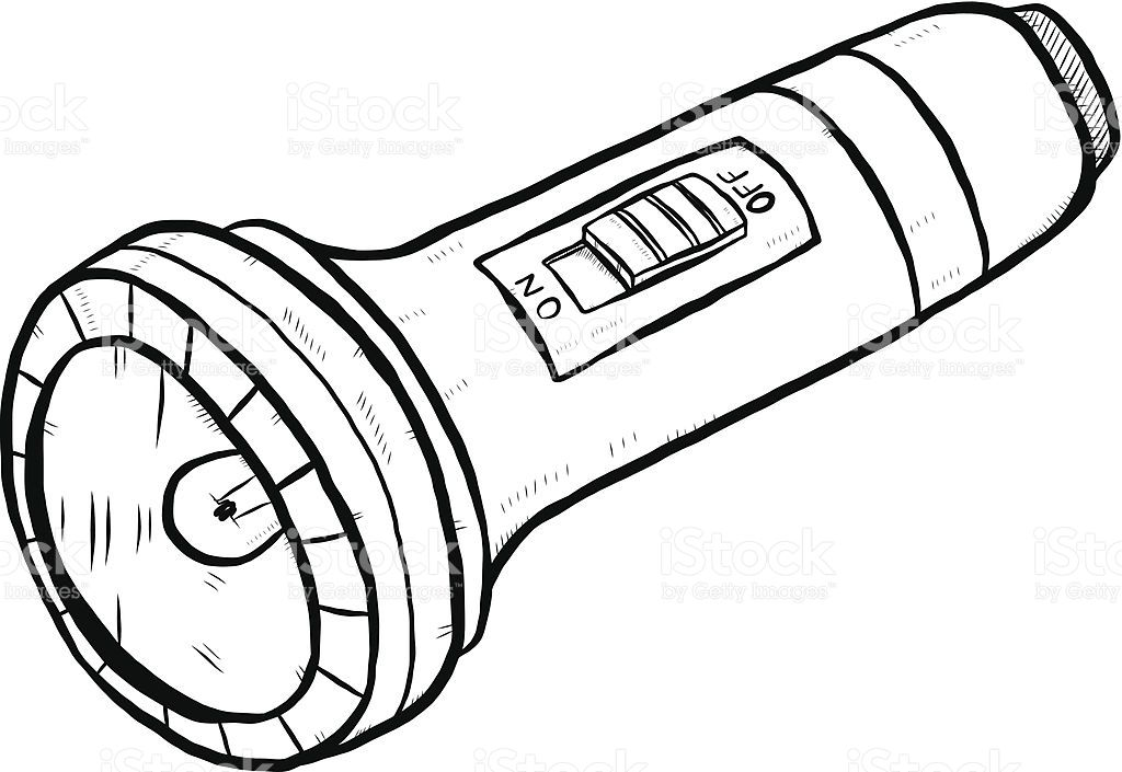 flashlight clipart black and white