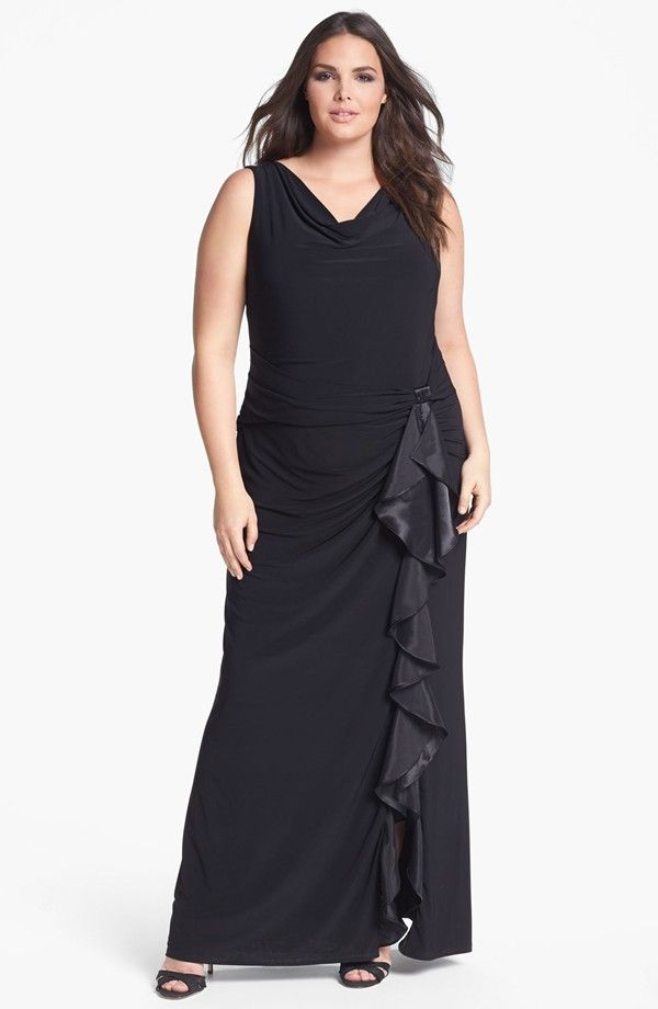 Betsy & Adam Ruffled Jersey Dress (Plus)