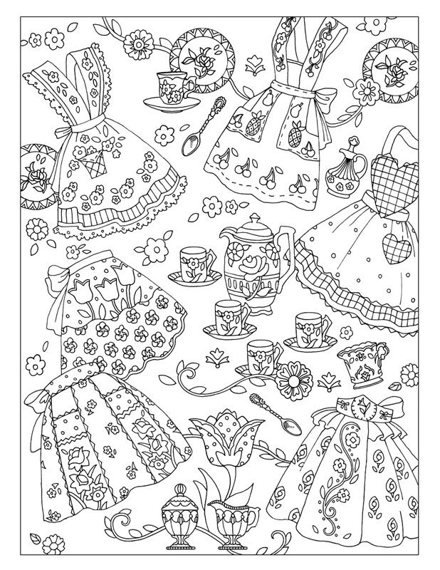 Vintage Aprons ~ Fanciful Fashions by Marjorie Sarnat   ✐Zentangles ...