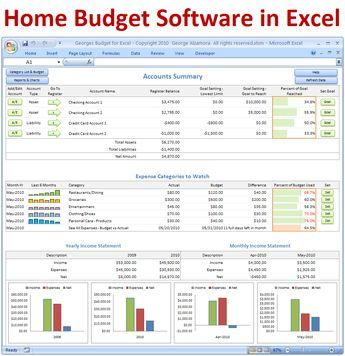 Georges Budget for Excel v100 Budget spreadsheet template, Excel - excel spreadsheets templates