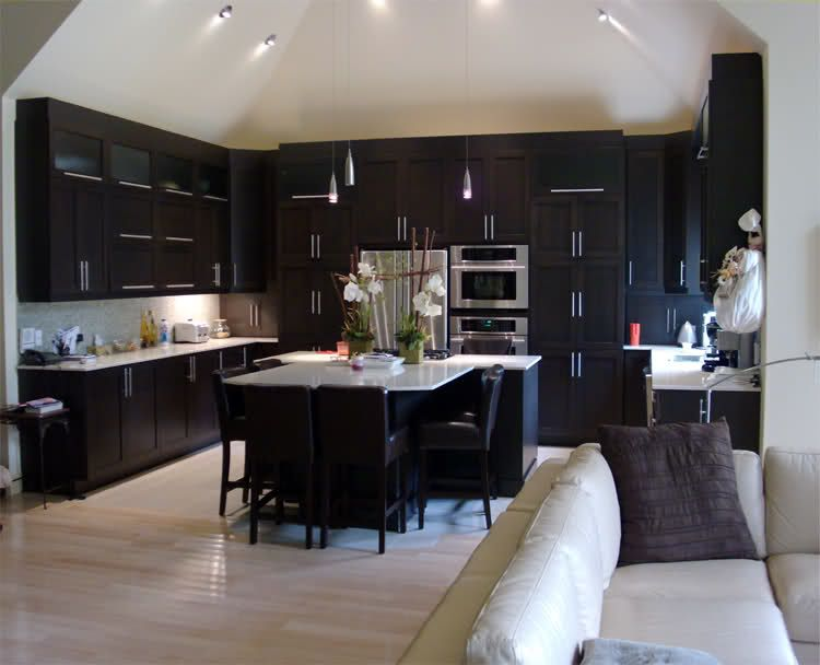 White Kitchen Or Dark Cabinets espresso cabinets and white tiles / floors | home styling