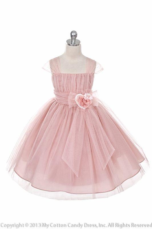 99d36748b7c Dusty Rose Tulle Ribbon Flower Girl Dress