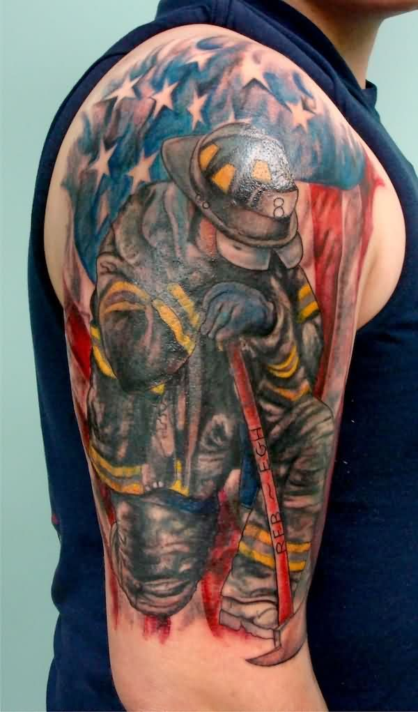 8a1a9ea47 USA Flag With Firefighter Tattoo On Right Half Sleeve | fire tats ...