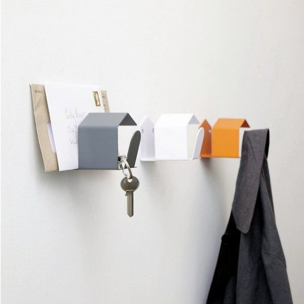 Coat hook that holds keys, bags, mail and gloves.