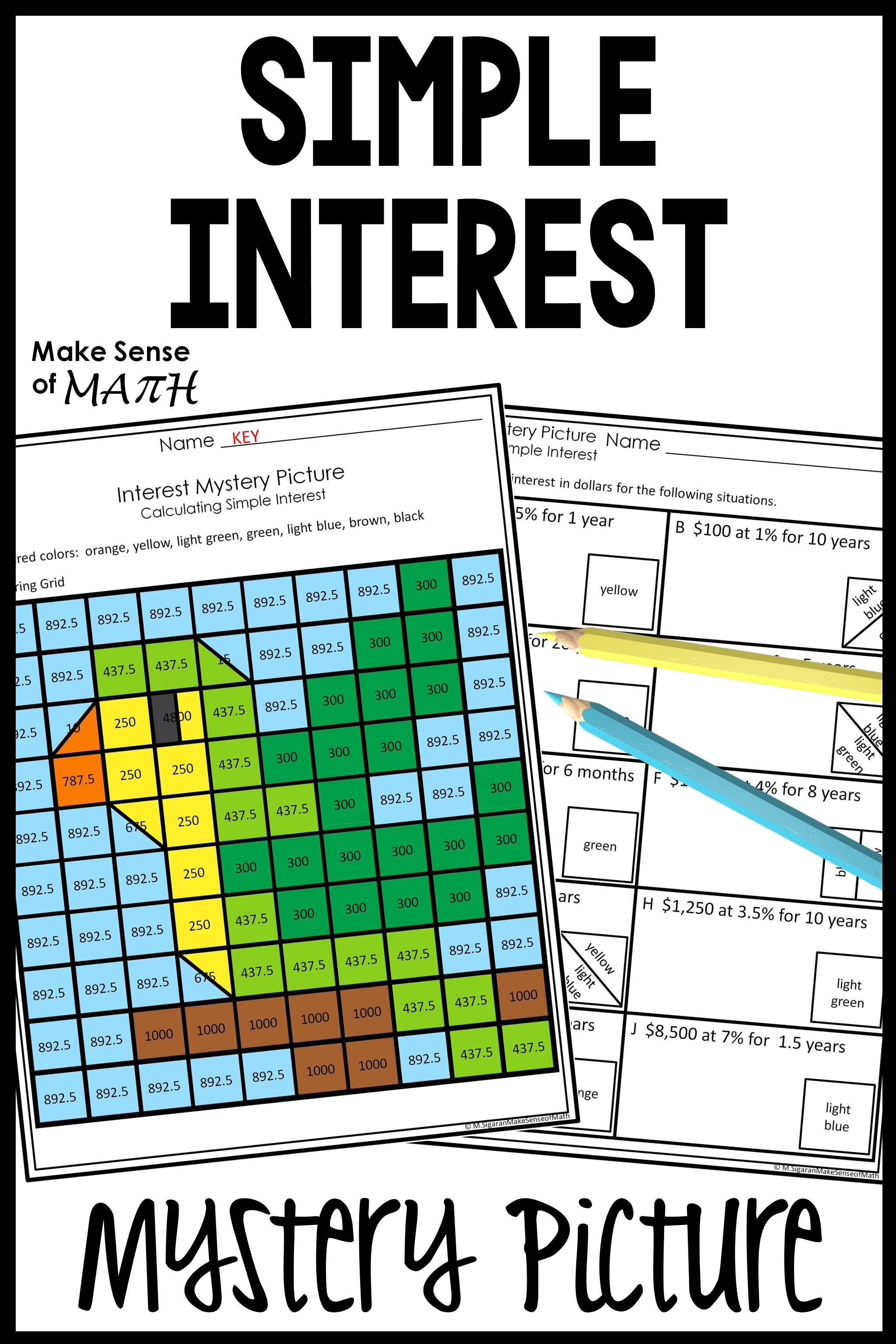 Simple Interest Activity Mystery Picture