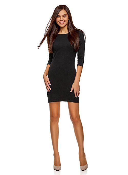 oodji Ultra Damen Jersey-Kleid Basic, Schwarz, viele Farben ...