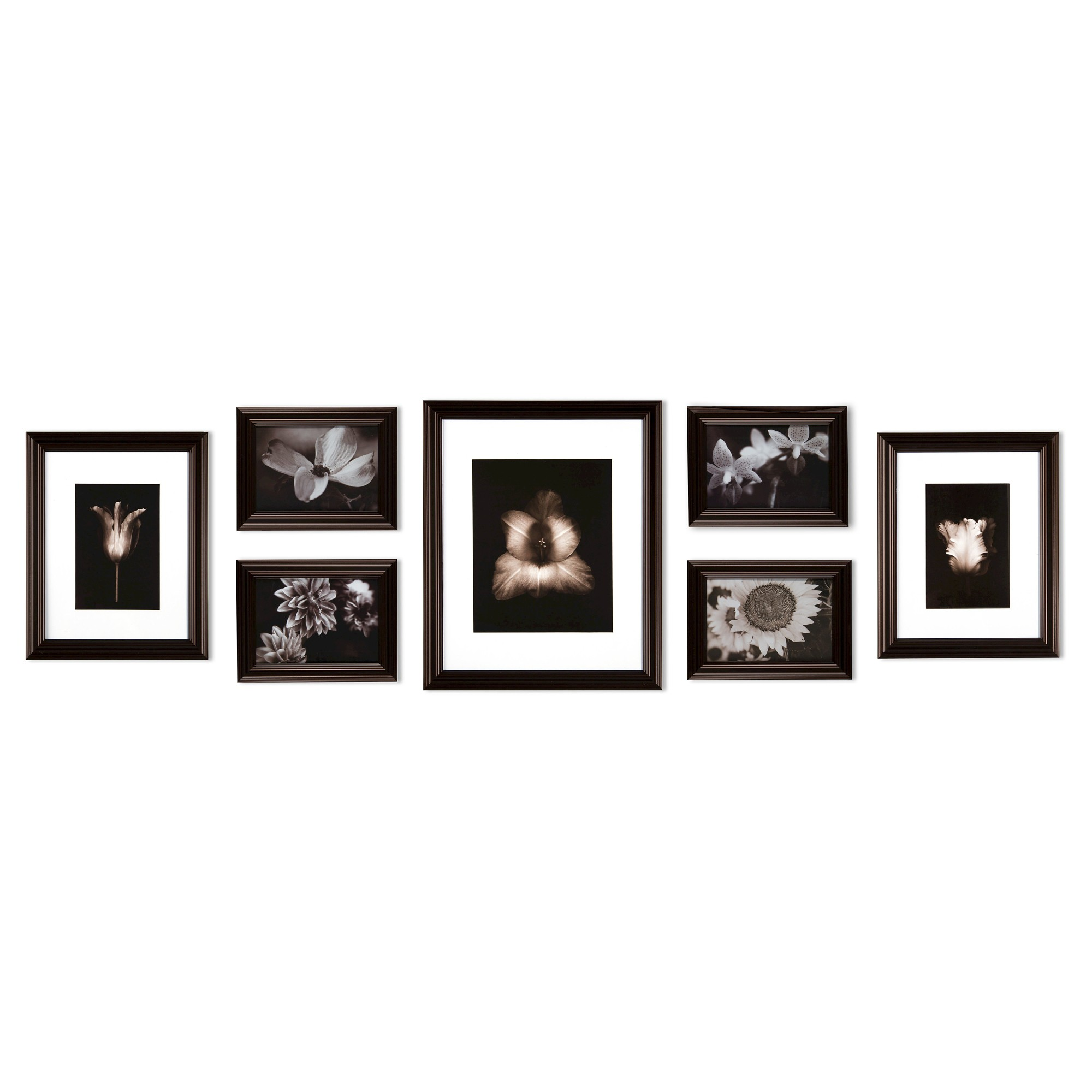 Gallery Perfect 7 Piece Multi Size Wall Frame Set Black Brown Wall Frame Set Gallery Wall Picture Frames Picture Frame Sets