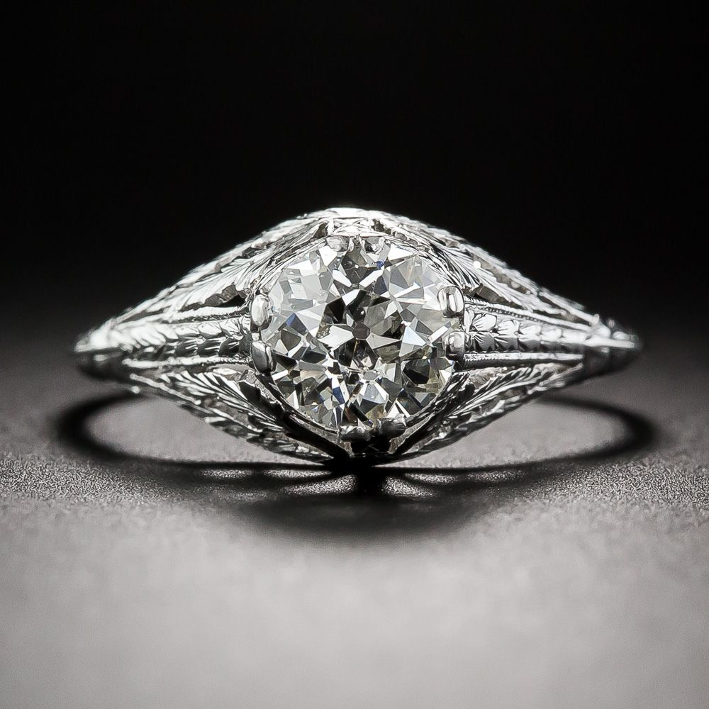 1.01 Carat Diamond Early-20th Century Neoclassical Engagement Ring - 10-1-6475 - Lang Antiques