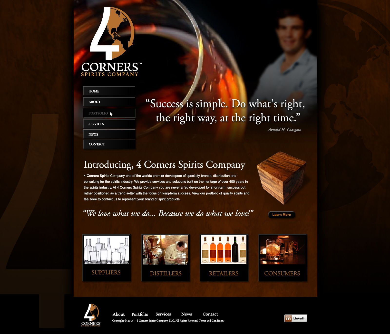 Website 4 Corners Spirits Design agency, Digital design