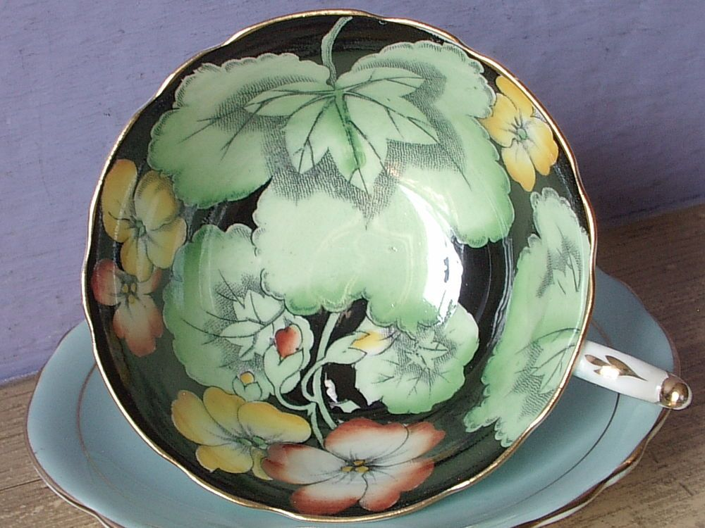Vintage 1950's Paragon bone china hand painted black and blue tea cup teacup