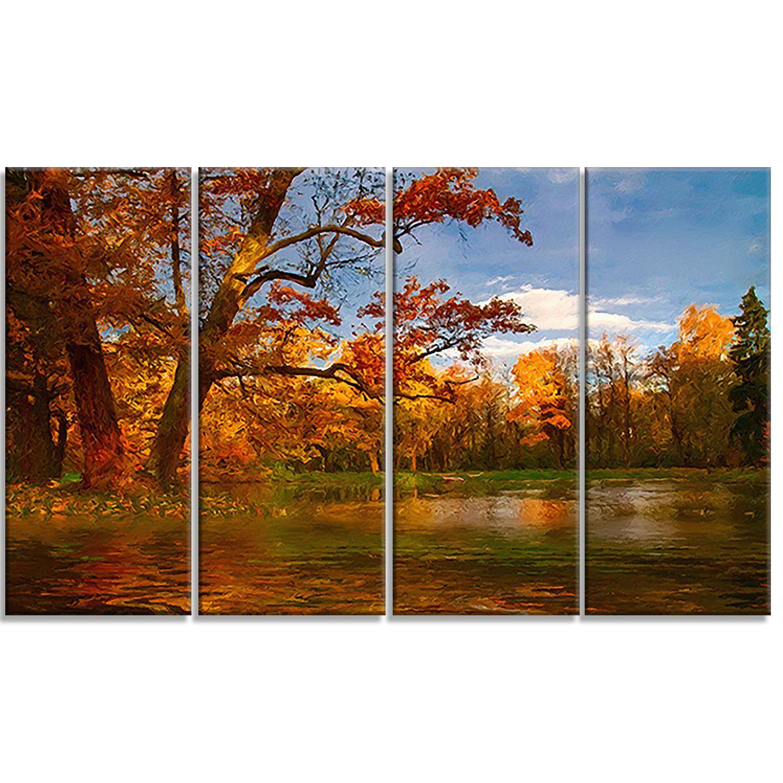 Quiet And Silent Autumn Landscape 4 Piece Painting Print On Wrapped Canvas Set Canvas Painting Landscape Autumn Landscape Landscape Art
