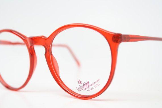 Vintage Eye Glasses Red Transparent Retro P3 shaped 1980's vintage eyewear NOS Deadstock